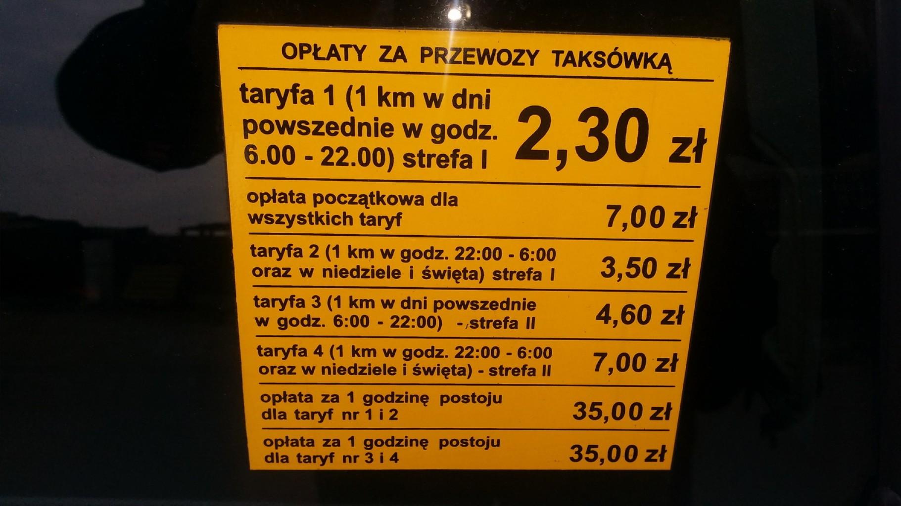 Taxi Kraków - cennik